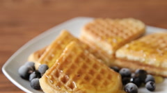 Waffles with honey and berries hd Stock Footage