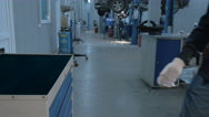 Mechanic open Blue Metal Box with Different Tools for Car Repair at Modern Stock Footage
