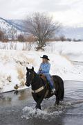 Cowgirl and her horse, Kamloops, British Columbia, Canada. Stock Photos