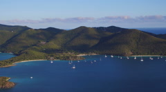 Panning view of the North Shore of St John, Virgin Islands Stock Footage