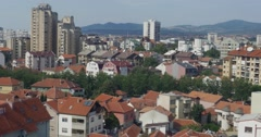 Panorama / cityscape of Nis, Serbia Stock Footage
