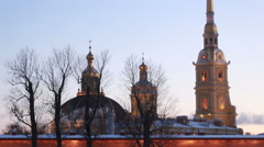 View on Peter and Paul Cathedral in Saint Petersburg, Russia in the evening Stock Footage