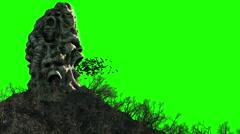 Horror island in ocean. devilish screaming skull. Halloween concept. Stock Footage