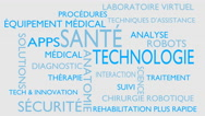 Health technology word tag cloud - white, French variant Stock Footage