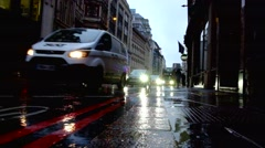 Raod Traffic in the rain Stock Footage