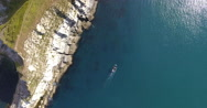 Aerial view looking down onto cliffs Stock Footage
