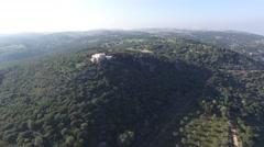 Mt Carmel - The Muhraka Monastery  (Israel aerial footage) Stock Footage