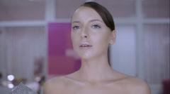 Make-up artist doing make-up fashion Stock Footage