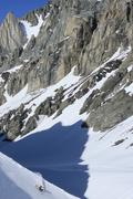 Young man backcountry skiing Haig Glacier, Kananaskis, Alberta, Canada. Stock Photos