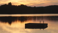 Morning at the lake with swim platform. Ontario, Canada. Stock Footage