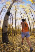 A young woman trail running near the base of Yamnuska mountain in the Canadian Stock Photos