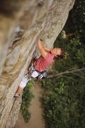 Woman climbing Special Forces, 5.11a. The Fortress. Skaha Bluffs. Penticton, Stock Photos