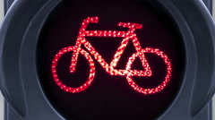 Closeup view of bike traffic light turning green, red and yellow Stock Footage