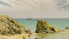 Famous Lolantonis beach at Paros island in Greece. Stock Footage