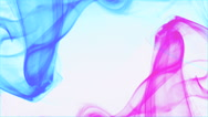 2 curly waves blue smoke and pink smoke white background - boys and girls Stock Footage