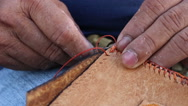 Stitching leather bag Stock Footage