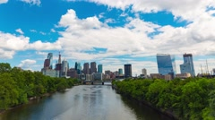 Philadelphia Center City Skyline Sunny Timelapse 4K HD Stock Footage