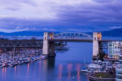 The Burrard Bridge and False Creek, Vancouver, British Columbia, Canada Stock Photos