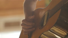 Music Festival Concert, Accoustic Guitar Closeup 7 Stock Footage