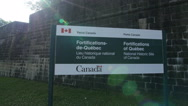 Parks Canada Fortifications of Quebec sign. Quebec City, Canada. Stock Footage