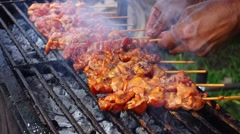 Roasted kidney chicken on charcoal Stock Footage