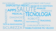 Health technology word tag cloud - white, Italian variant Stock Footage