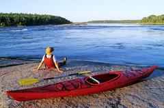 Kayaking, Nutimik Lake, Whiteshell Provincial Park, Manitoba, Canada. Stock Photos