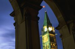 The Peace Tower of the Canadian Parliament Buildings at night, Ottawa, Ontario, Kuvituskuvat