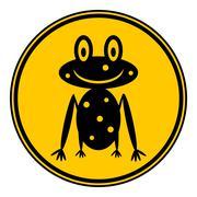 Frog icon on button on white. Stock Illustration