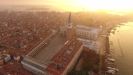 Aerial view of Venice, St Mark's square. Scenic video taken at sunrise. Stock Footage