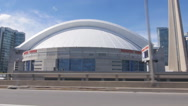 Driving past the Skydome. Rogers Centre in Toronto, Ontario, Canada. Stock Footage