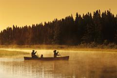 Family canoeing, Whiteshell River, Whiteshell Provincial Park, Manitoba, Canada Stock Photos