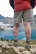 A hiker overlooks Lake McArthur in the Lake Ohara Region of Yoho National Park, Stock Photos