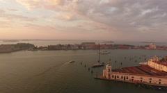 Aerial view of San Giorgio Maggiore in Venice, Italy Stock Footage