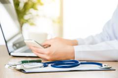 Doctor stethoscope on clipboard, healthcare and medicine concept Stock Photos