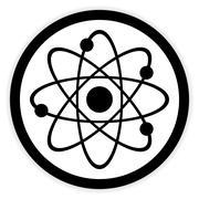 Atom button on white. Stock Illustration