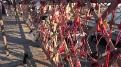 Lovelocks Brooklyn Bridge, (in 4k), Mnhattan, New York, United States. Stock Footage
