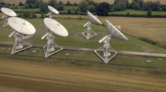 Many huge radio satellite dishes in space research facility. Aerial view Stock Footage