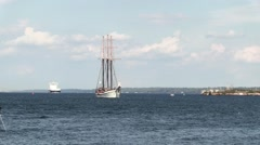 Tall boat on the St. Lawrence Seaway Stock Footage