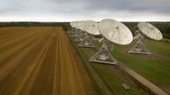 Radio-telescope satelitte  dishes line up perfectly. Aerial view Stock Footage