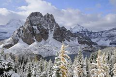 Fresh snow on Sunburst Peak, Cerulean Lake, Mount Assiniboine Provincial Park, Stock Photos