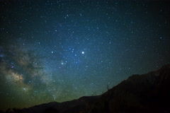 5K Astro Time Lapse of Milky Way & Moon Rise over Sierra Nevada Mtns Stock Footage