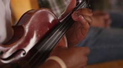 Music Festival Concert, Violin Strumming Closeup 1 Stock Footage