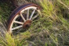 Abandoned farm equipment in field near Leader, Saskatchewan, Canada Stock Photos