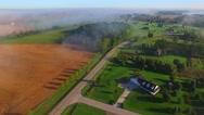 Beautiful idyllic rural neighborhood on foggy morning Stock Footage
