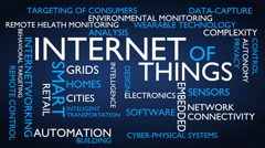 Internet of things word tag cloud - blue, English variant Stock Footage