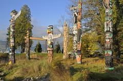 West coast First Nations totems, Brockton Point, Stanley Park, Vancouver, Stock Photos