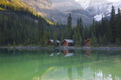 Lake O'Hara Lodge cabins, Yoho National Park, British Columbia, Canada Stock Photos