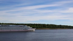 Cruise ship moves on the Svir river in North Russia Stock Footage