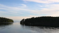 Passenger ship in the bay on the island of Valaam on Ladoga lake in northern Rus Stock Footage